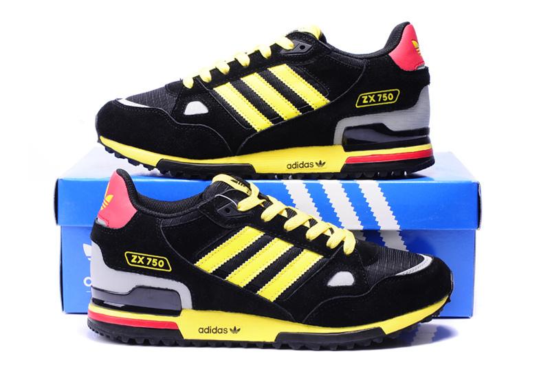 Men's/Women's Adidas Originals ZX 750 Shoes Black/Yellow/White/Red ...