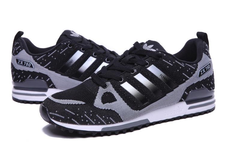 meilleur service 44c77 132b7 Men's Adidas Originals ZX 750 Flyknit Shoes Black/Silver ...