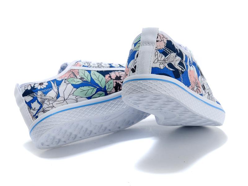 Women S Adidas Originals Honey Mid Stripes Casual Shoes Floral Blue
